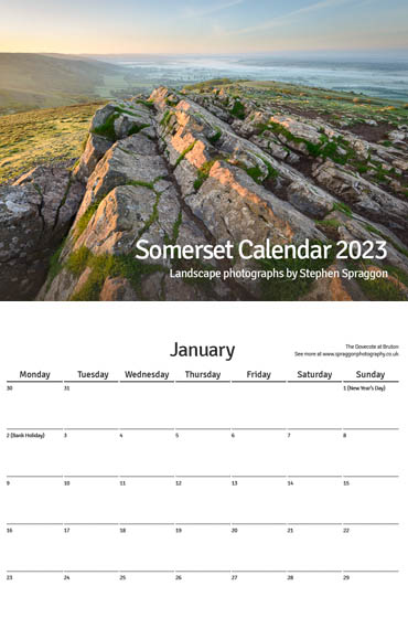 Somerset Calendar 2020 front cover and sample page