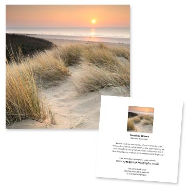 'Swaying Waves' large greeting card featuring sand dunes on Berrow Beach, Somerset.