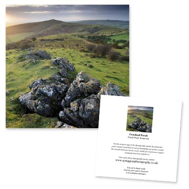 'Crooked Perch' large greeting card featuring a view towards Crook Peak on the Mendip Hills, Somerset.