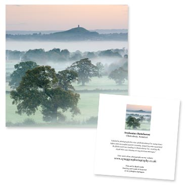 'Avalonian Rainforest' large greeting card featuring Glastonbury Tor on a misty morning.