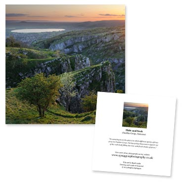 'Hide and Seek' large greeting card featuring a dramatic view of Cheddar Gorge, Somerset.