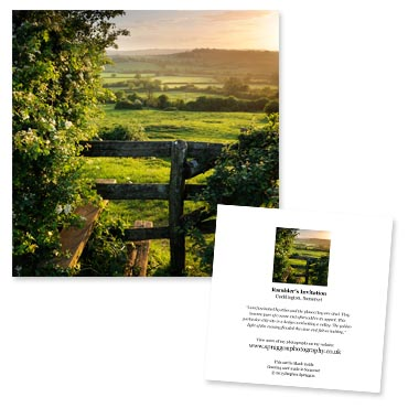 'Rambler's Invitation' large greeting card featuring a view of the Blackmore Vale from the village of Cucklington, Somerset.