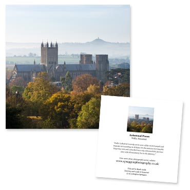 'Autumnal Poem' large greeting card featuring Wells Cathedral surrounded by autumnal trees.