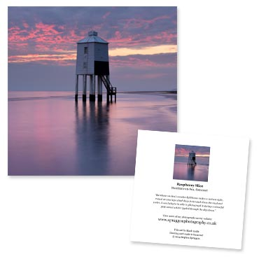 'Raspberry Slice' large greeting card featuring the wooden lighthouse at Burnham-on-Sea, Somerset.