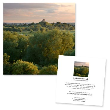 'St. Michael's Borough' large greeting card featuring Burrow Mump, Somerset.