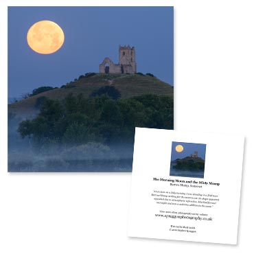 'The Morning Moon and the Misty Mump' large greeting card featuring Burrow Mump, Somerset