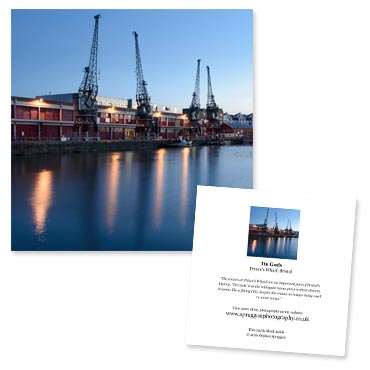'Tin Gods' large greeting card featuring Prince's Wharf, Bristol