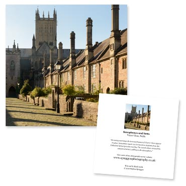 'Saxophones and Setts' large greeting card featuring Vicars' Close in Wells, Somerset