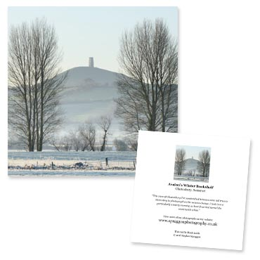 'Avalon's Winter Bookshelf' large greeting card featuring Glastonbury Tor.