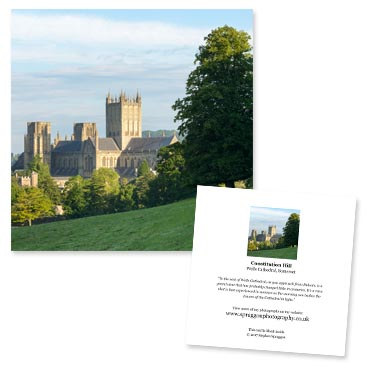 'Constitution Hill' large greeting card featuring Wells Cathedral.
