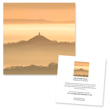 'The Treacle Tower' large greeting card featuring Glastonbury Tor.