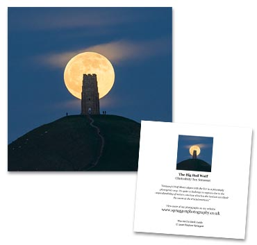 'Wolf Moon' large greeting card featuring Glastonbury Tor a full wolf moon.