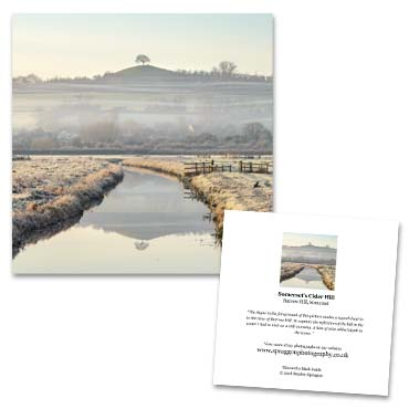 'Somerset's Cider Hill' large greeting card featuring Burrow Hill on the Somerset Levels.