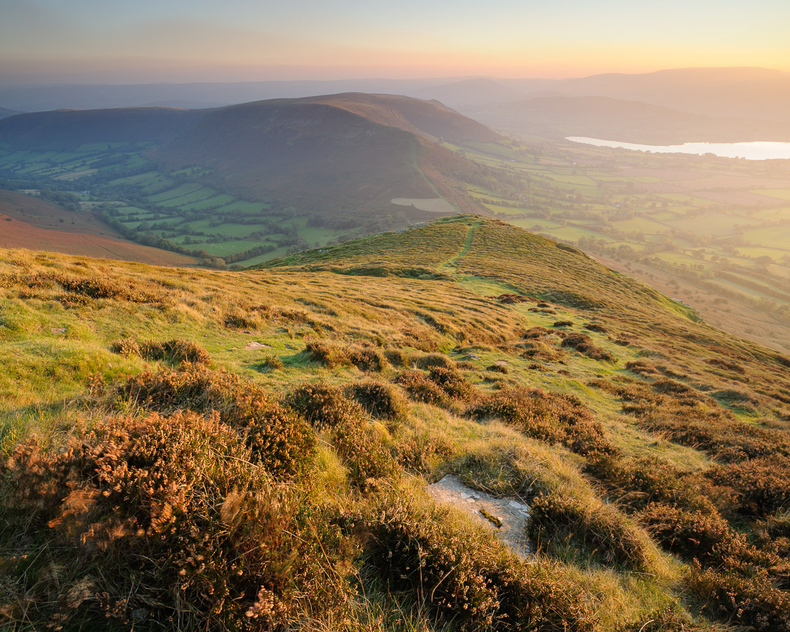 View looking down on Mynydd Llangorse and surrounding landscape in the Brecon Beacons, Powys, Wales, UK. Image © Stephen Spraggon.