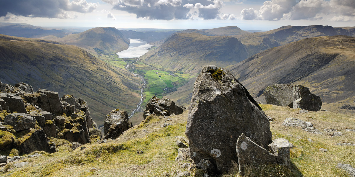 Dramatic view from Great Gable overlooking Wasdale and surrounding landscape, Lake District, UK. Image © Stephen Spraggon.