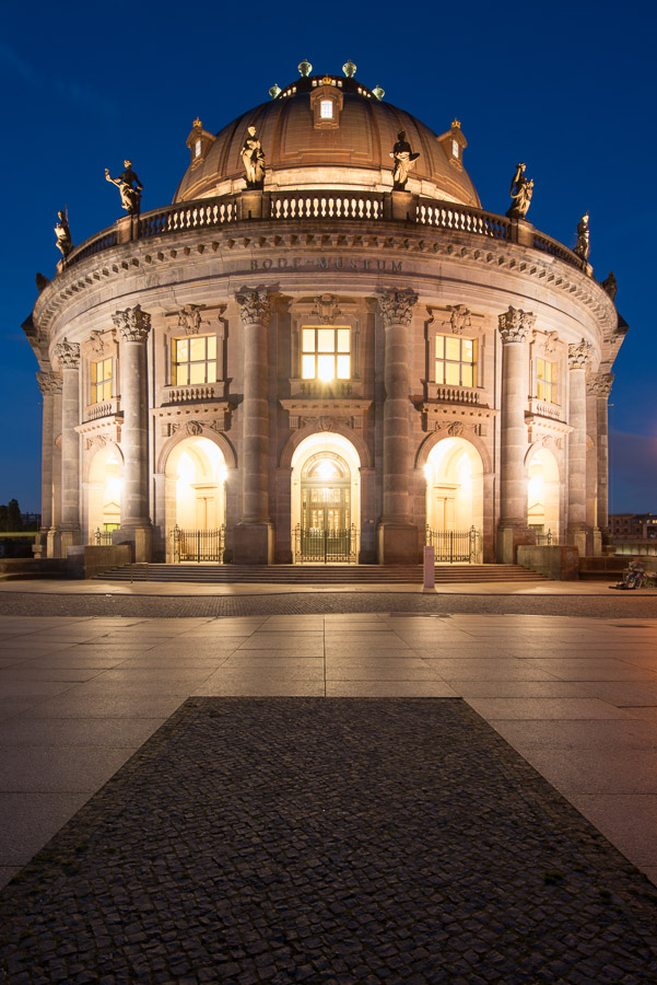 The Bode Museum illuminated at night in Berlin, Germany. Image © Stephen Spraggon.