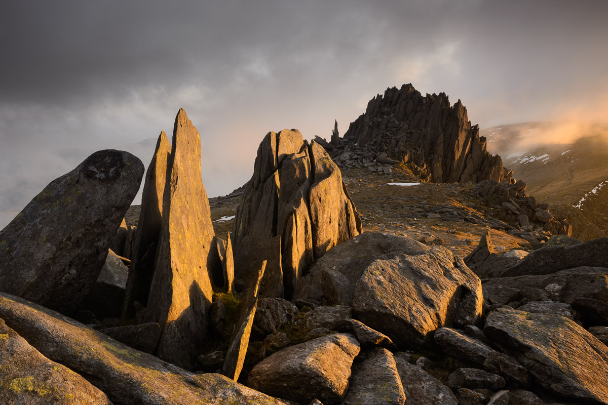 Castell y Gwynt (Castle of the Winds) on Glyder Fach, Snowdonia, dramatically lit at sunset. Image © Stephen Spraggon.