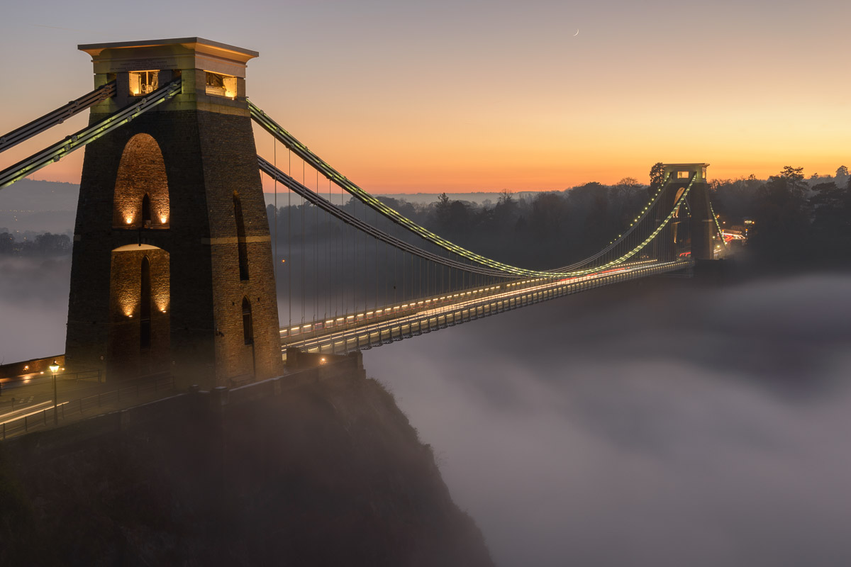 Clifton Suspension Bridge photographed as fog filled the Avon Gorge beneath. Image © Stephen Spraggon.