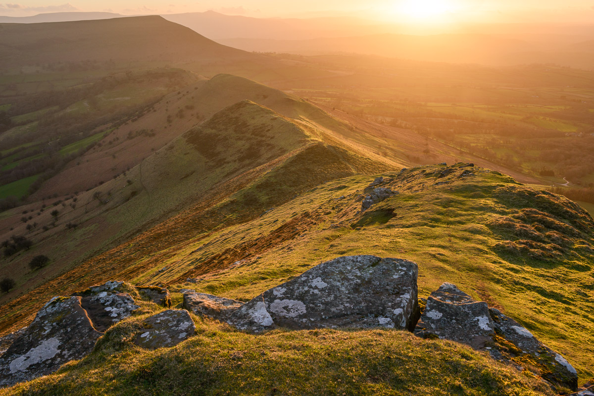 Y Grib, also known as the Dragon's Back, in the Brecon Beacons at sunset. Image © Stephen Spraggon.