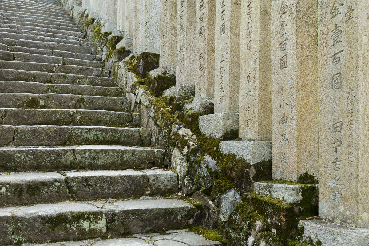 Stone steps leading to Nigatsudo Hall, Todaiji Temple grounds, Nara, Japan. Image © Stephen Spraggon.