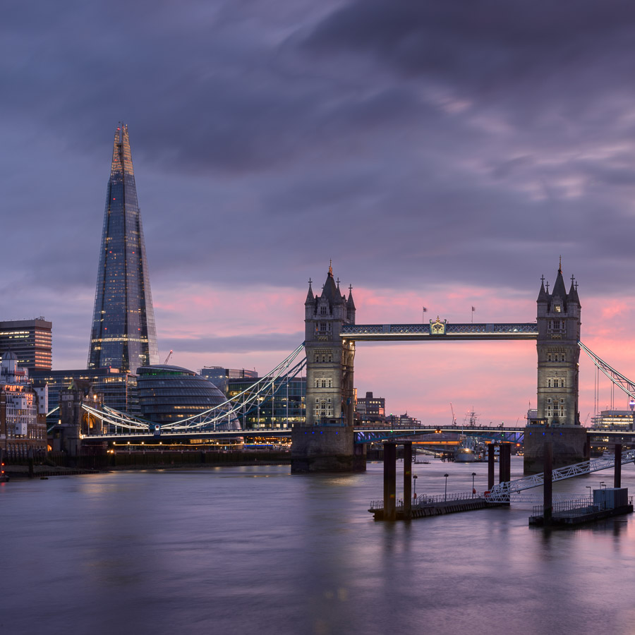 Tower Bridge and the Shard, London, against a colourful sunset. Image © Stephen Spraggon.