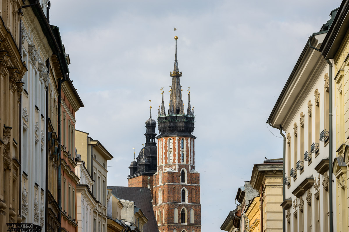 The towers of St. Mary's Basilica, Krakow, viewed from Floriańska Street. Image © Stephen Spraggon.